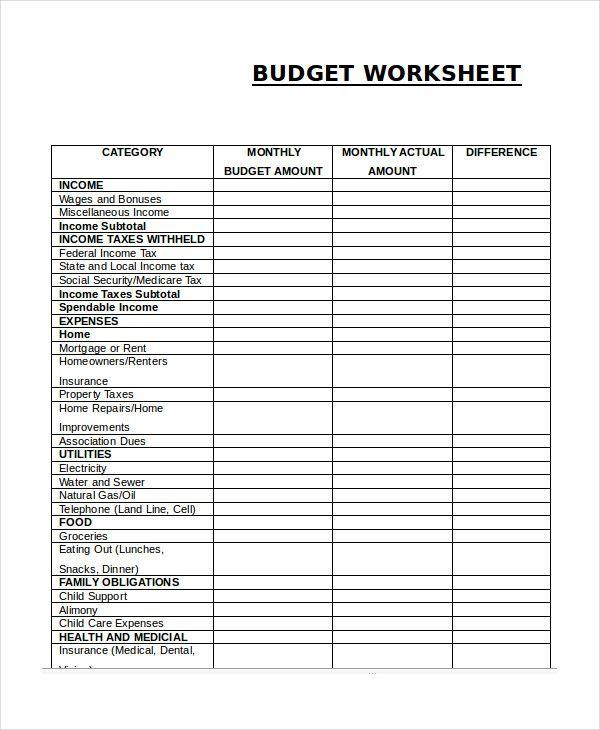 Pin Di Budget Template