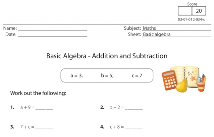 Basic Algebra – Addition And Subtraction Worksheet For Ks1