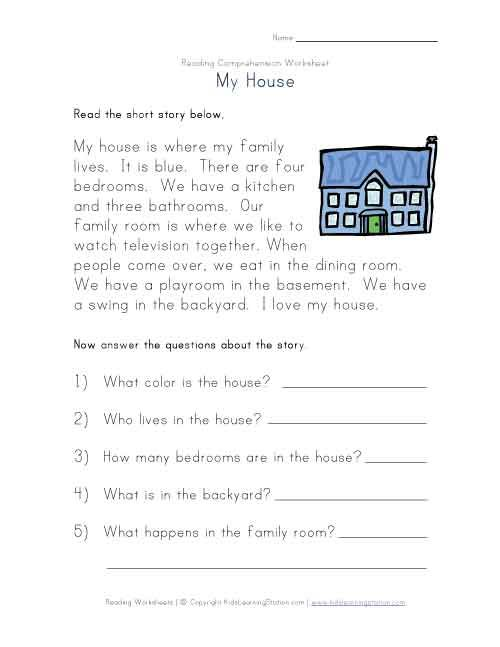 Free Print Kindergarten Comprehension Worksheets