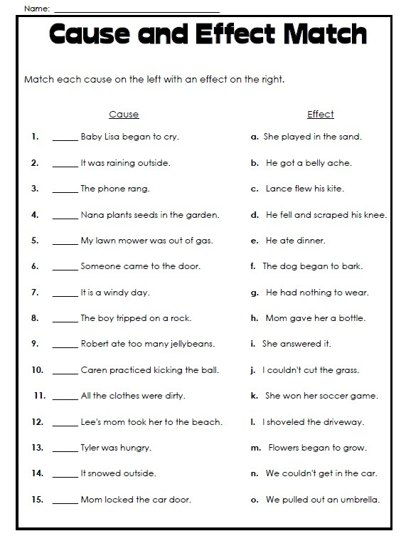 Printable Cause And Effect Worksheet