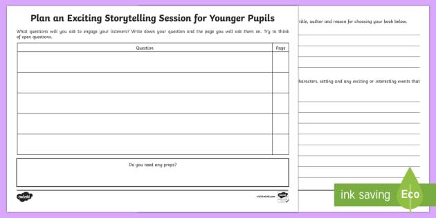Plan A Storytelling Session Worksheet   Worksheet