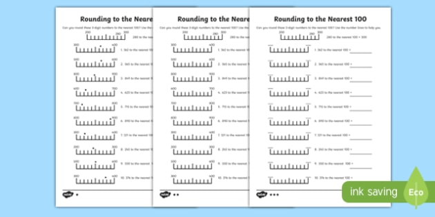 Rounding To 100 Differentiated Worksheet   Worksheet Pack