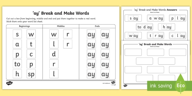 Ay' Sound Break And Make Worksheet