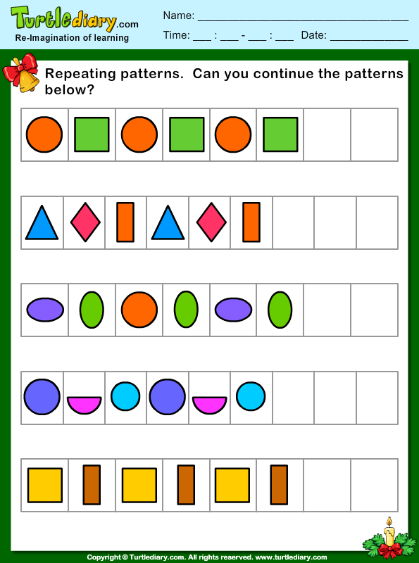 Christmas Repeating Patterns Worksheet