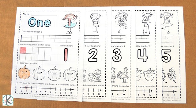 Free Fall Worksheets Counting 1