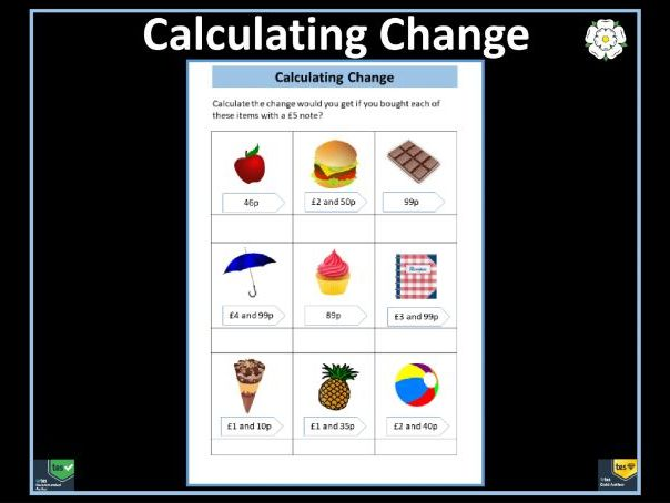 Calculating Change From £5 Worksheet