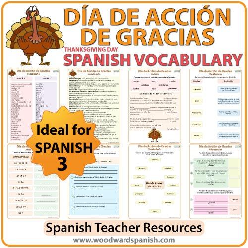 Spanish Thanksgiving Day Vocabulary – Día De Acción De Gracias