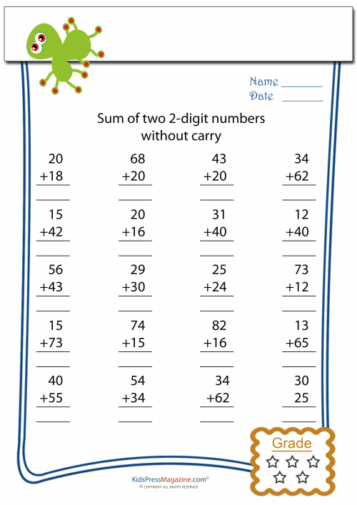 Double Digit Addition Without Carry