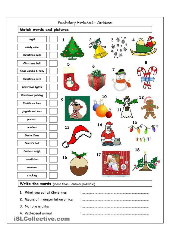 Christmas Vocabulary Worksheets For Elementary Students