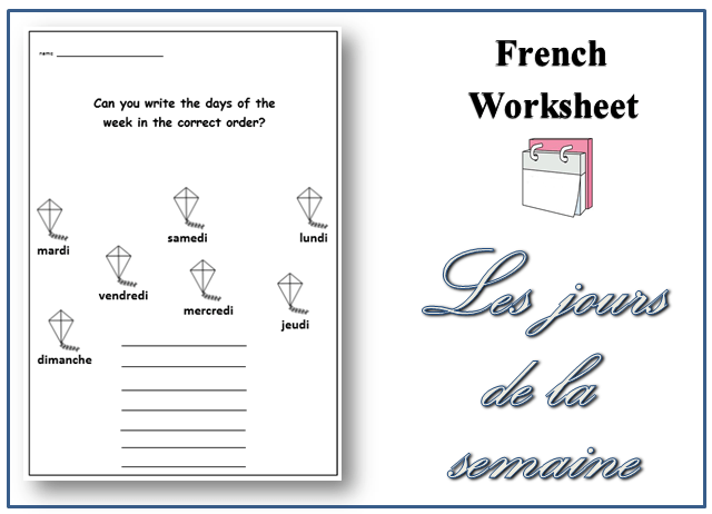 Downloadable Printable French Worksheet  Days Of The Week Topic