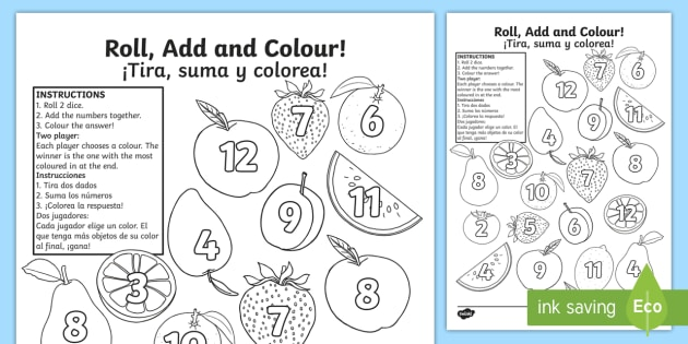 Fruit Roll And Color Worksheet   Worksheet English Spanish