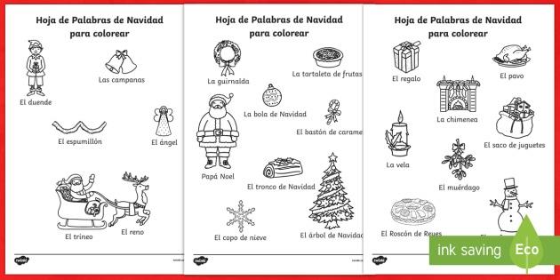 Navidad Hojas Palabras Colorear Spanish