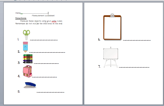 Beginning Measurement Worksheet Using Unifix Cubes