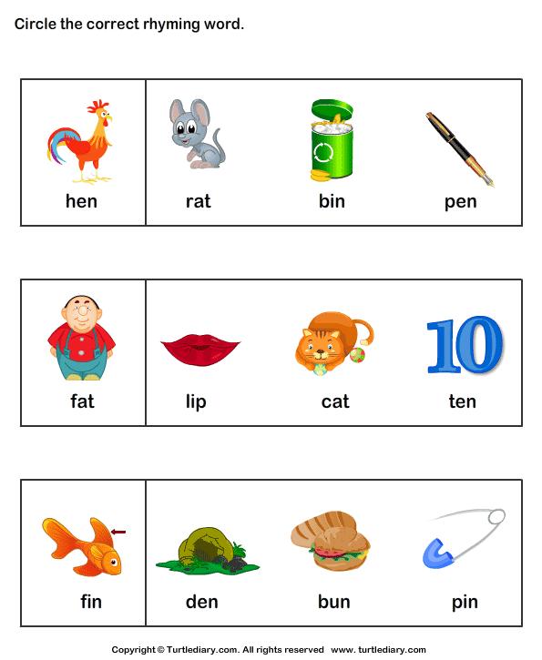 Find Words That Rhyme Worksheet