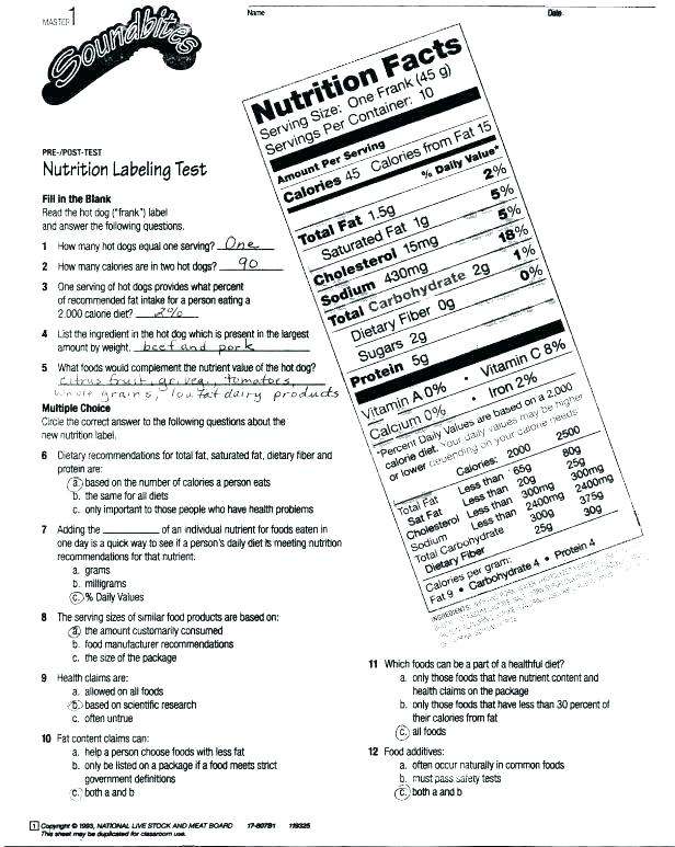 Free Printable Health Worksheets For Middle School And Fun