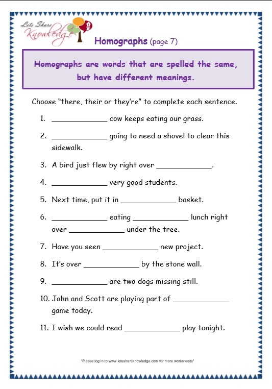 Grade 3 Grammar Topic 26  There, Their, They're Worksheets