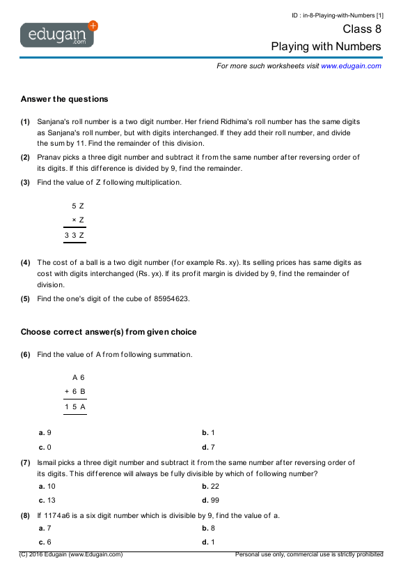 Grade 8 Math Worksheets And Problems  Playing With Numbers