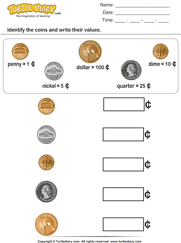 Identify Coins And Write Their Values Worksheet