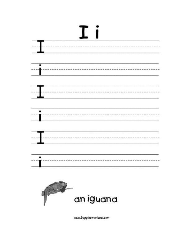 Letter I Alphabet Worksheets