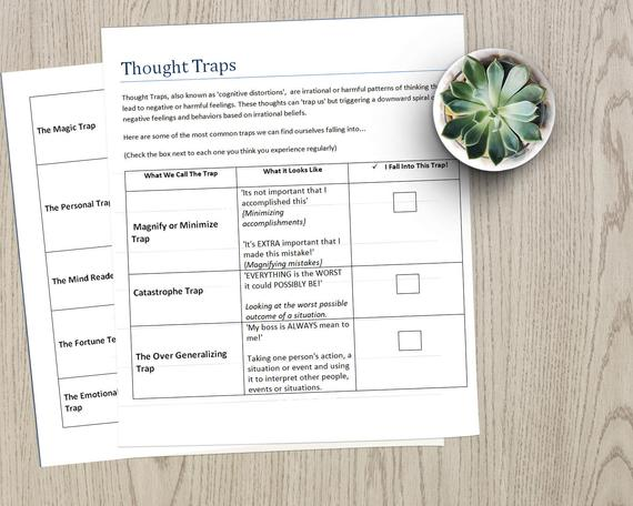 Thought Traps Fillable Pdf Worksheet Checklist