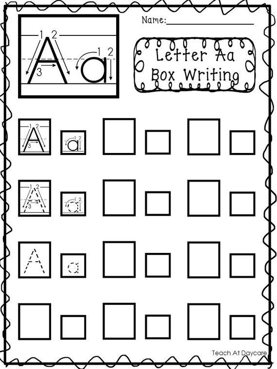 26 Printable Alphabet Box Writing Worksheets  Preschool