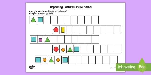 Repeating Pattern Worksheet   Worksheets (shapes And Colors