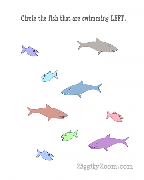 Left Directional Shark Worksheet