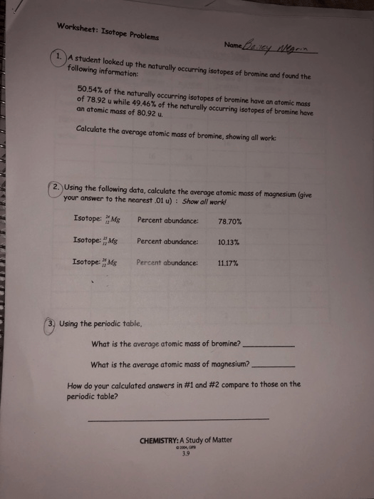 Solved  Worksheet  Isotope Problems 1  A Student Looked Up