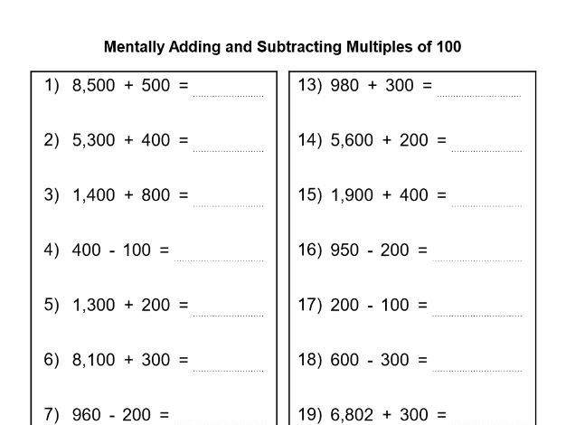 Menatally Adding And Subtracting Multiples Of 10 And 100 By