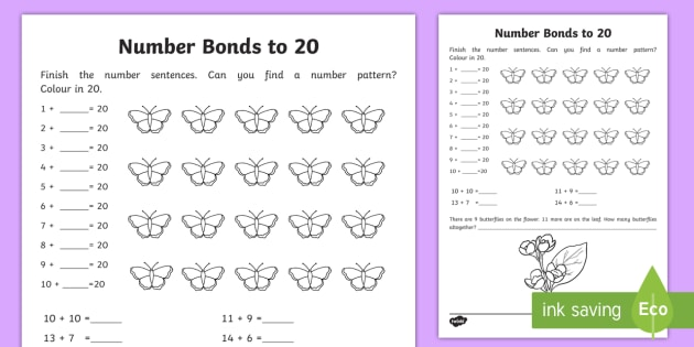 Number Bonds Within 20 Worksheet   Worksheet