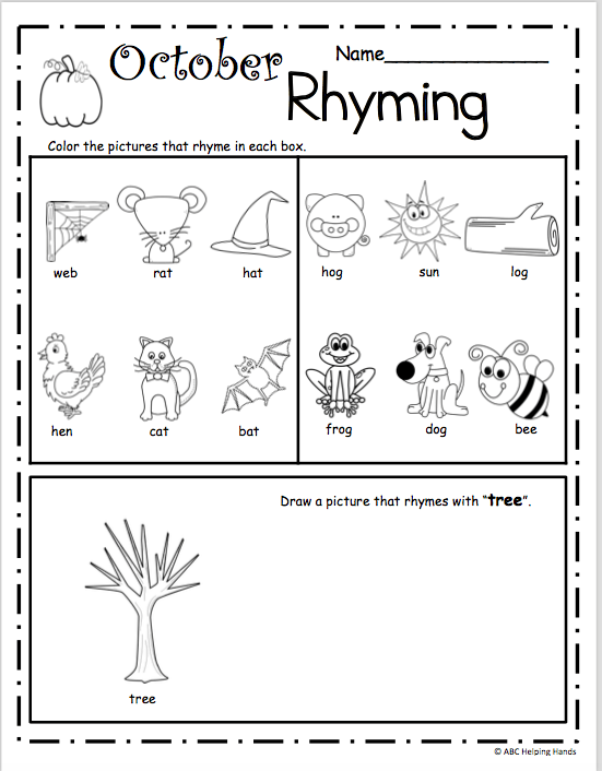 October Rhyming Worksheet For Kindergarten