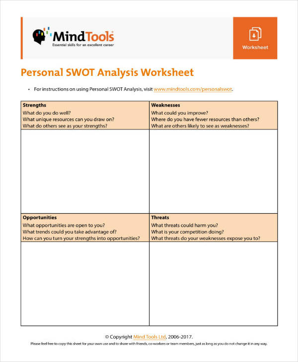 4+ Swot Analysis Worksheet Templates