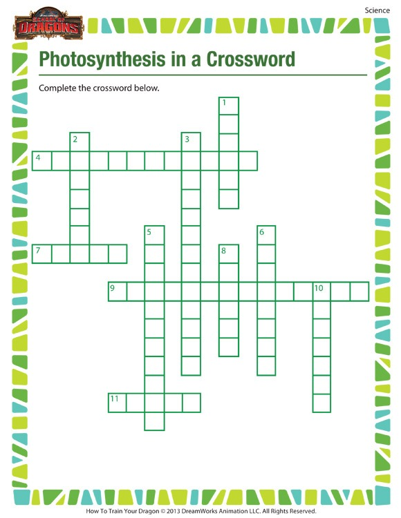 Photosynthesis In A Crossword – Printable 5th Grade Kids