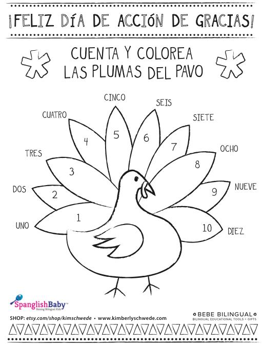 Thanksgiving Coloring Sheet In Spanish {printable}