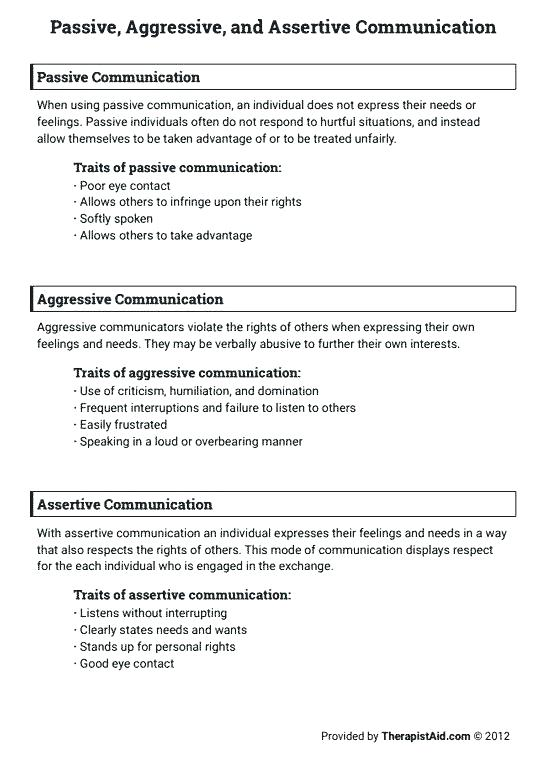 Communication Skills Worksheets For Adults