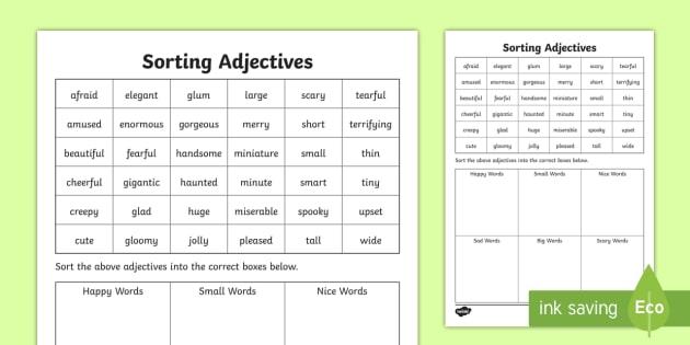Sorting Adjectives Worksheet