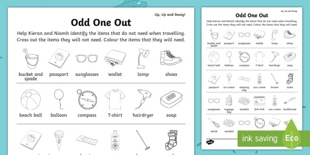 Up, Up And Away! Odd One Out Worksheet   Worksheet