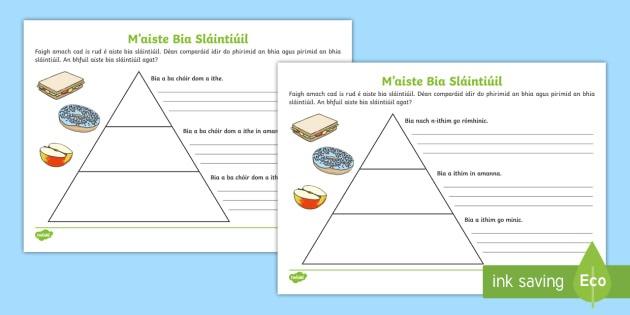 Healthy Eating Food Pyramid Writing Worksheet   Worksheets Gaeilge