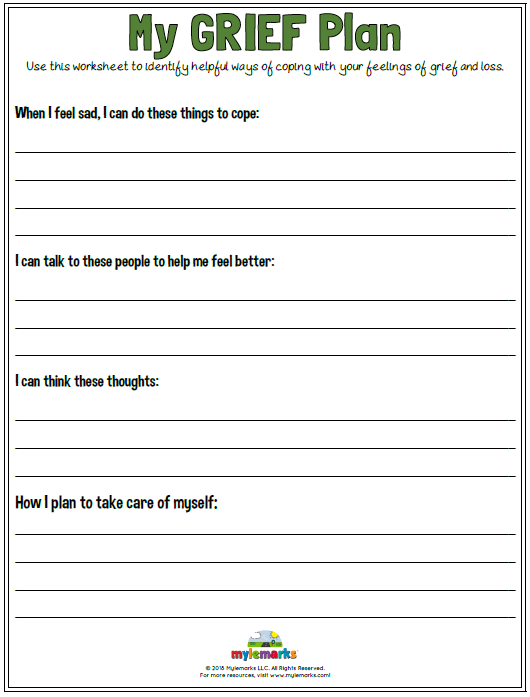 Grief And Loss Worksheets For Kids And Teens
