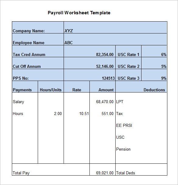 5+ Payroll Worksheet Templates