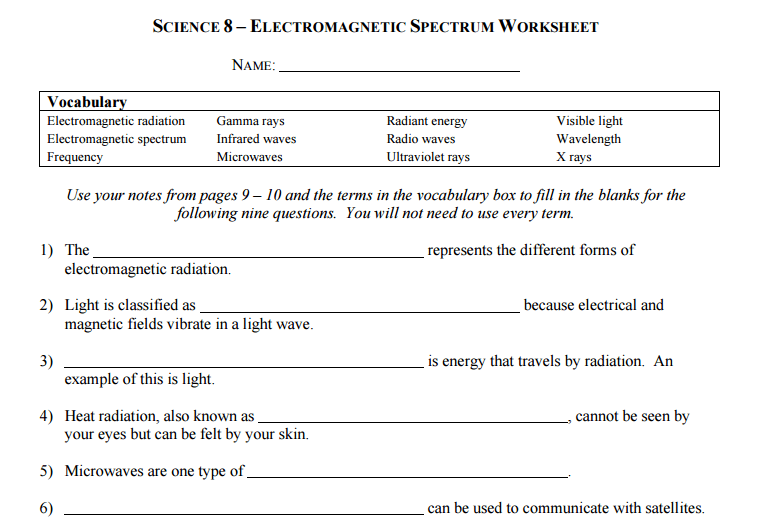 Science 8 Electromagnetic Spectrum Worksheets Answer Key