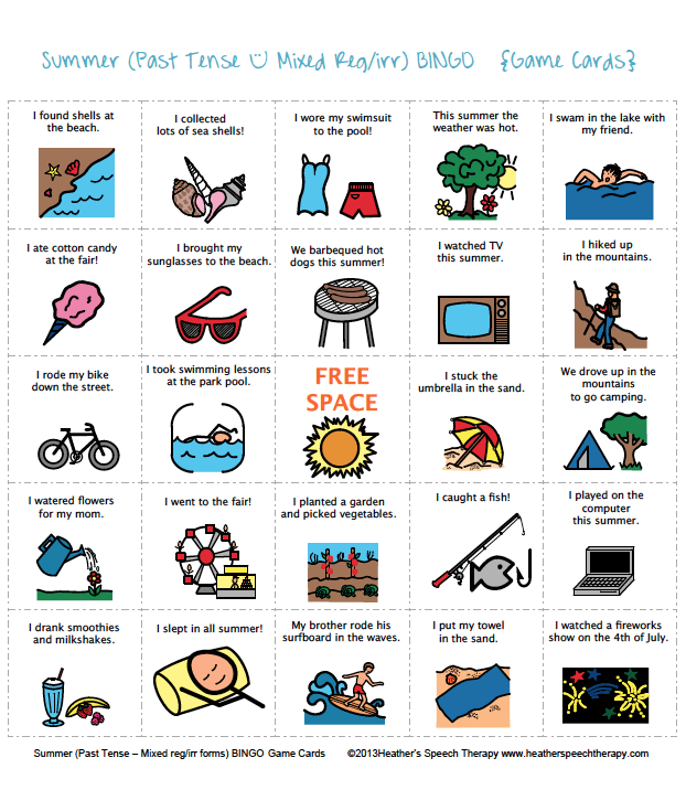Speech Therapy Summer Bingo Game