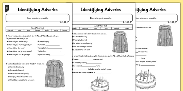 Identifying Adverbs Differentiated Worksheet