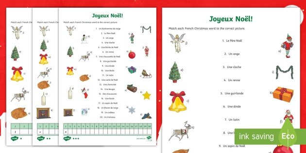 Christmas Vocabulary Matching Differentiated Worksheet   Worksheet