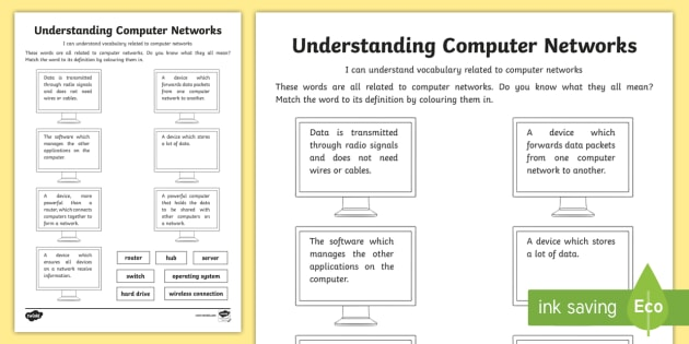 Understanding Computer Networks  Vocabulary Worksheet   Worksheet