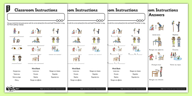 French Classroom Instructions Worksheet   Worksheet