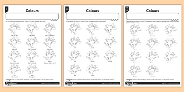 Ks1 French Colours Worksheet