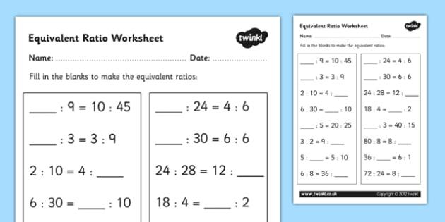 Equivalent Ratio Worksheet