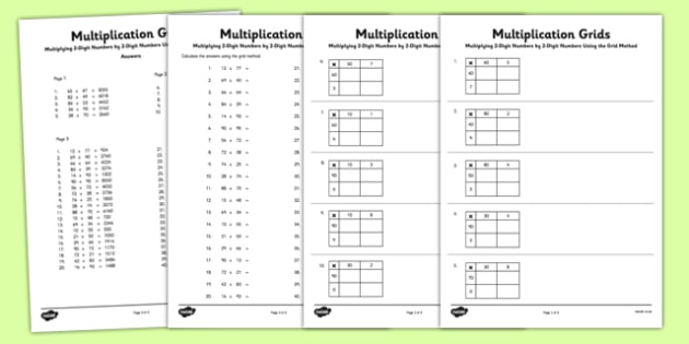 Multiplying 2 Digit Numbers By 2 Digit Numbers Using Grid Method