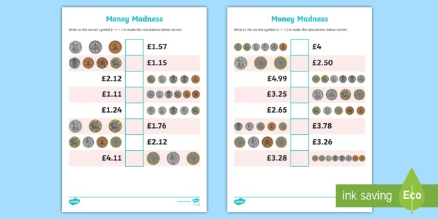 Ks2 Money Madness Greater Than And Less Than Worksheet   Worksheet